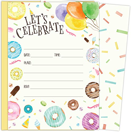 Koko Paper Co Donut and Balloon Invitations. Set of 25 5x7 Fill-in Invitations with Yellow Envelopes. Perfect for Birthday Parties or Other - Birthday Invitations Yellow
