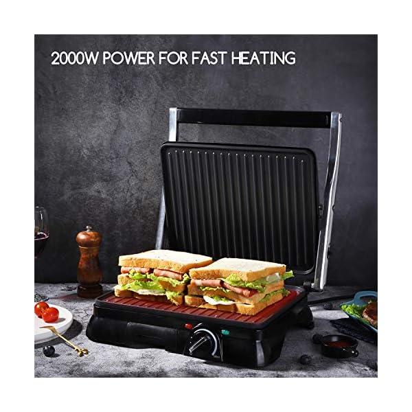Aigostar Samson - Griglia multifunzione per panini maker da 2000W con 2 piani di cottura 29.5 * 23.5cm. Temperatura… 3