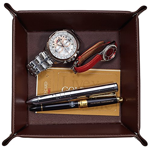 OARIE Jewelry Tray, Valet Tray PU Leather Catchall Tray for Men Key Wallet Coin Box Travel Valet Tray Brown