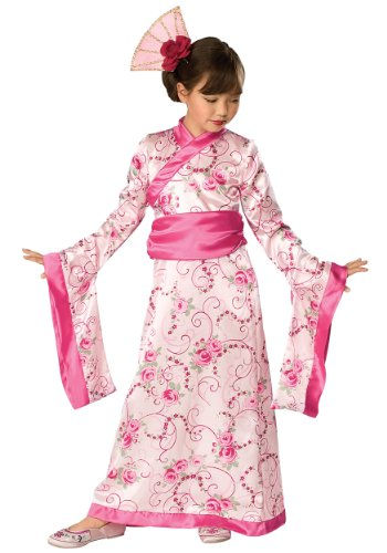 Girls Geisha Princess Kimono Costume Fancy Dress Pink Japanese Child Kids Large NEW