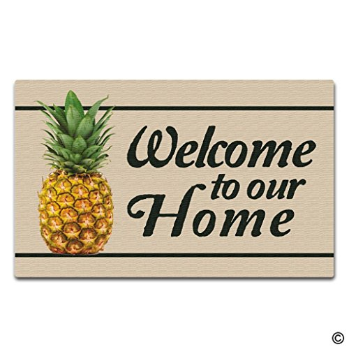 - Artswow Personalized Doormat Funny Floor Mat Pineapple Welcome To Our Home Door Mat with Non Slip Rubber Backing Decorative Indoor Outdoor Door Mat 18 by 30 Inch