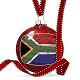 Christmas Decoration Flag on Wood South Africa Ornament