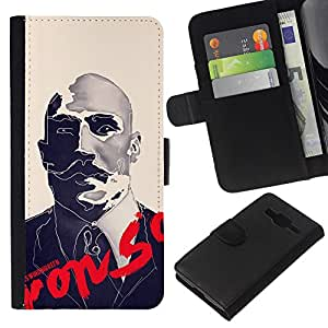 Be-Star la tarjeta de Crédito Slots PU Funda de cuero Monedero caso cubierta de piel Samsung Galaxy Core Prime ( Boxer Sir Moustache Movie Retro )