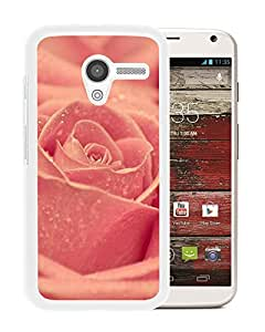New Beautiful Custom Designed Cover Case For Motorola Moto X With Macro Pink Rose Dew (2) Phone Case