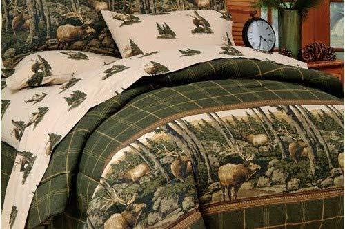 (Blue Ridge Trading Rocky Mountain Elk Complete Bed Set, Twin, Green/Brown (Renewed))