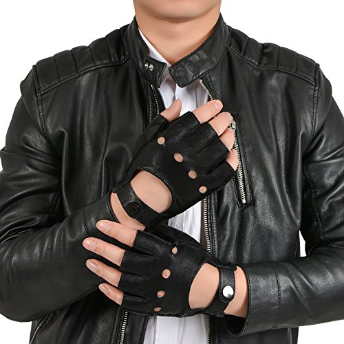 GSG Mens Fingerless Genuine Nappa Leather Driving Gloves Half Finger Motorcycle Backless Button Unlined 10.5 Black
