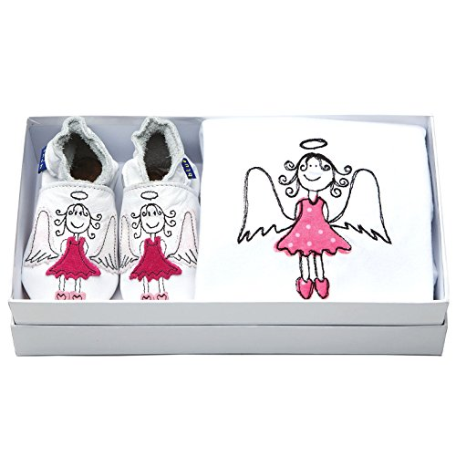 Inch Blue Mädchen/Jungen Baby-Geschenkset - Lederschuhe & Strampler aus Baumwolle - Mit Stickerei verziert - Engel Weiß/Rosa