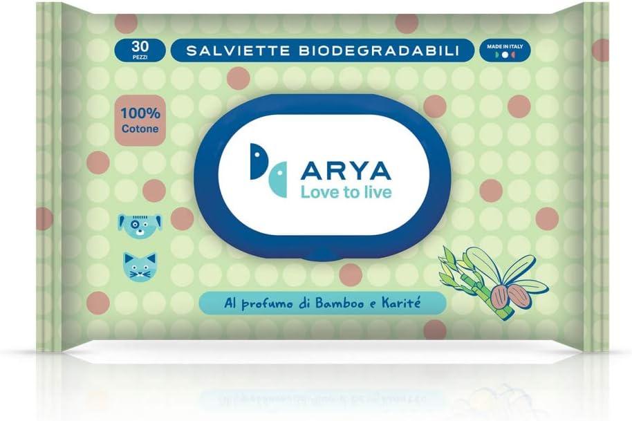 Arya Salviette Biodegradabili di Cotone da 30 Pz per Cani E Gatti Aloe e Bergamotto