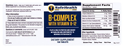 Safe Health Nutritionals B-Complex with Vitamin B-12 Tablet by Safe Health Nutritionals (Image #3)