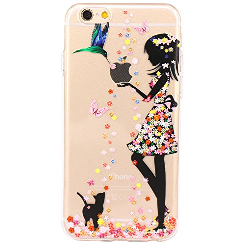 iPhone 6 Case, iPhone 6s Case,JAHOLAN TPU Silicone Gel Soft Clear Case Cover for iPhone 6 6S - Flower Small Girl