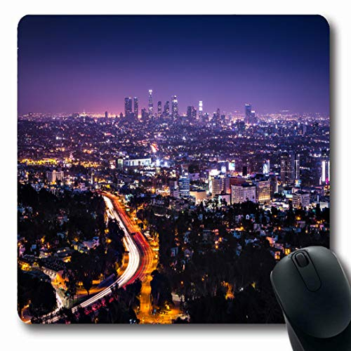 Ahawoso Mousepads for Computers Downtown Purple City View Los Angeles Hollywood Freeway Hills Night Light Cityscape Nightlife Horizon Oblong Shape 7.9 x 9.5 Inches Non-Slip Oblong Gaming Mouse -