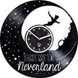 Peter Pan Clock, Wendy Gift, Walt Disney Home Decor, Cartoons Movie, Vinyl Wall Clock, Best Gift For Girl, Vinyl Record Clock, Kovides, Silent, Wall Sticker, Wall Clock Modern
