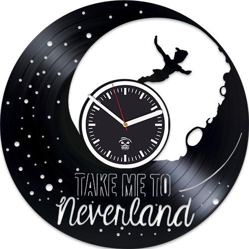 Peter Pan Clock, Wendy Gift, Walt Disney Home Decor, Cartoons Movie, Vinyl Wall Clock, Best Gift For Girl, Vinyl Record Clock, Kovides, Silent, Wall Sticker, Wall Clock Modern