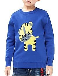 MFrannie Toddle Little Boys Cartoon Cute Tiger Jacquard Warm Sweater