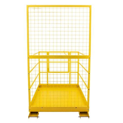 Mophorn Forklift Safety Cage 45 x 43 Inch Fork Lift Work Platform 1200lbs Capacity Heavy Duty Steel Forklift Safety Lift Basket Aerial Fence Rails Yellow Pallet loader Fork lift Safety Cage (45''x43'') by Mophorn (Image #3)