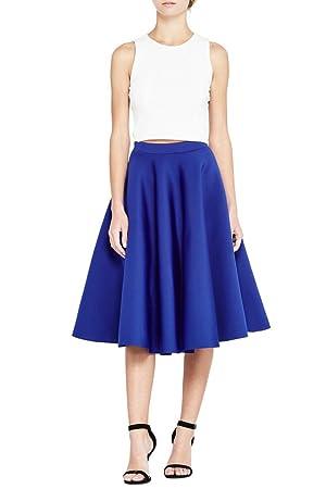 Women's Fashion Trendy Solid Circle Midi Scuba High Waist Skirt USA S172 XL