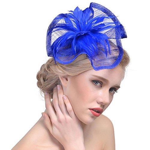 capelli Girls fascia Royal Blue lovely nastri chiesa cappello matrimonio Ascot cocktail 1 ~ Tea donna 2 White per con Party mesh Mounter Womens con per clip ~ z5q00