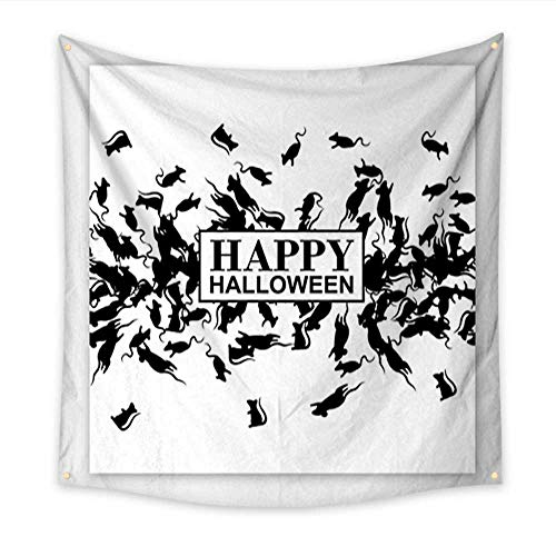 Anniutwo Modern Art Tapestry Happy Halloween Poster with Black Rats Border Vector Background Living Room Bedroom Dorm Decor 47W x 47L Inch]()
