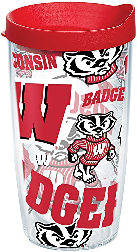 - Tervis 1257595 NCAA Wisconsin Badgers All Over Tumbler With Lid, 16 oz, Clear