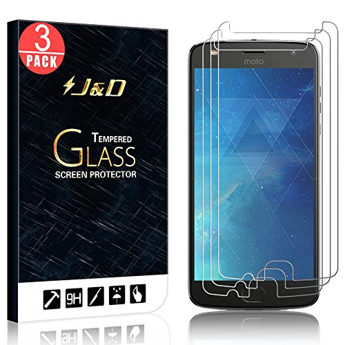 [3-Pack] Moto Z2 Play Screen Protector, J&D Glass Screen Protector [Tempered Glass] HD Clear Ballistic Glass Screen Protector for Motorola Moto Z2 Play - Protect Screen from Drop and Scratch