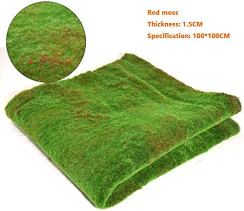 人工的な草ロール/コケのマット、赤い背景および黒い背景屋内装飾が付いている景色の底 (Color : Red, Size : 3pack)