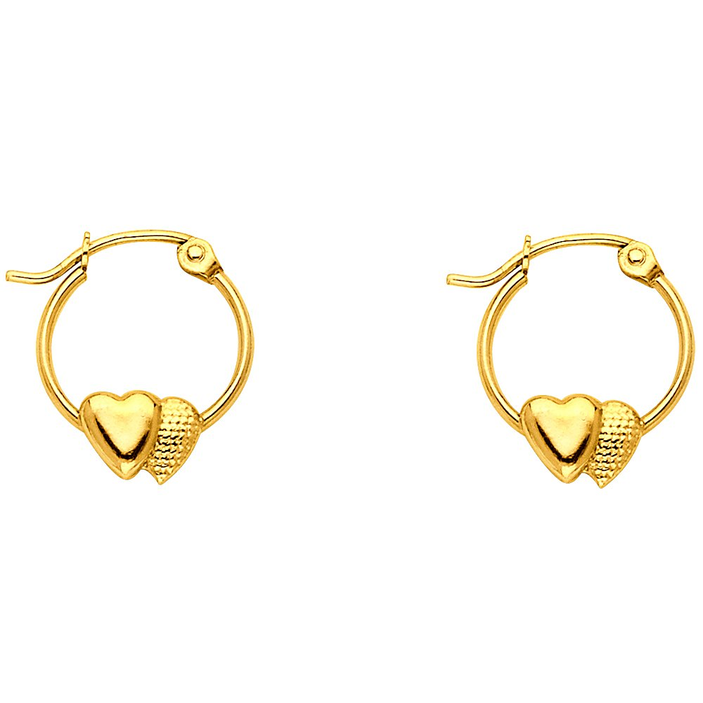 14k Yellow Gold Fancy Double Heart Hoop Earrings (12 x 12mm)