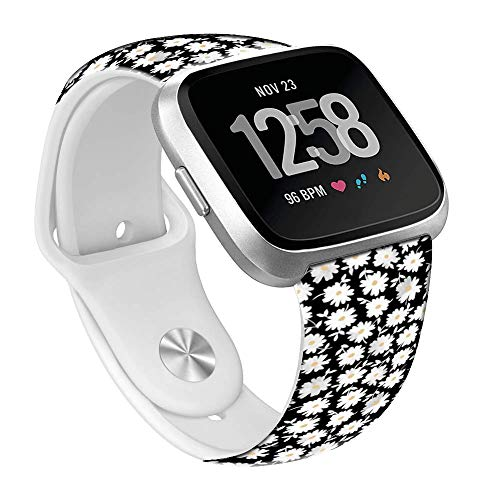 Viwell Sport Bands Compatible Fitbit Versa, Silicone Fadeless Pattern Printed Replacement Bands Compatible with New Fitbit Versa Smart Watch White Daisies