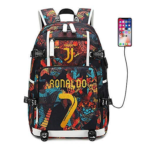Soccer Player Star Cristiano Ronaldo Multifunction Backpack CR7 Juventus Travel Student Backpack Football Club Fans Bookbag for Men Women Kids (Style 2) (Style 1)