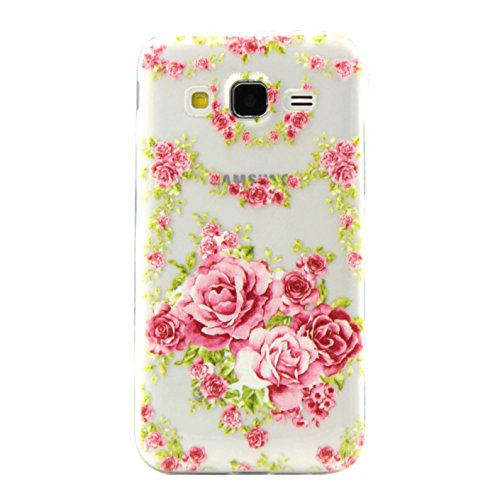 G360 Case, Galaxy Core Prime Case, Floral Printed Case, Wwwe® Flexible Soft TPU Cover for Samsung Galaxy Core Prime G360 G3606 G3608 G3609 / Galaxy Prevail (Phone Covers Fabric Snap)