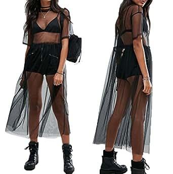 Women's Short Sleeve See Through Gauze Sheer Mesh T Shirt Dress Sheer Maxi Dress Tulle Maxi Skirt (S, Black)