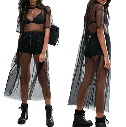 Women's Short Sleeve See Through Gauze Sheer Mesh T Shirt Dress Sheer Maxi Dress Tulle Maxi Skirt (M, Black)