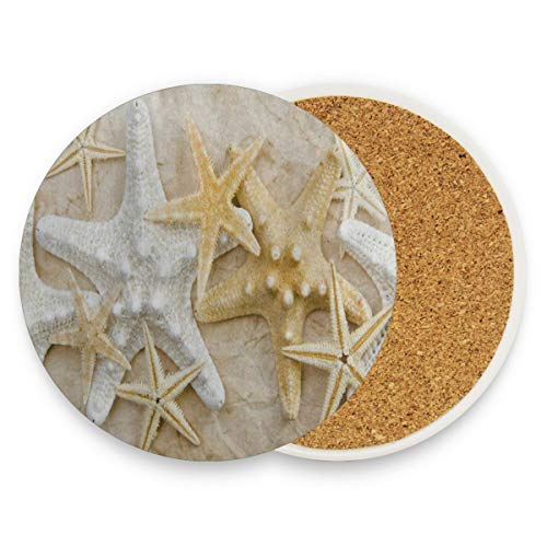 - LoveBea Beach Sand Starfish Sea Shell Coasters, Protection for Granite, Glass, Soapstone, Sandstone, Marble, Stone Table - Perfect Cork Coasters,Round Cup Mat Pad for Home, Kitchen Or Bar Set of 4