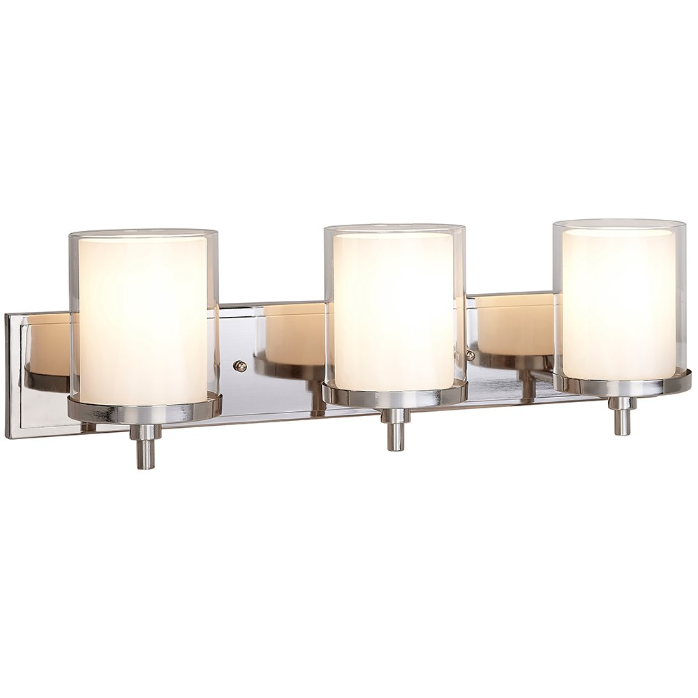 Triple Frosted and Clear Glass Wall Sconce | Polished Nickel LED Fixture | Vanity, Bedroom, or Bathroom Light | Interior Lighting