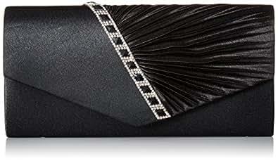 Damara Womens Pleated Crystal-Studded Satin Handbag Evening Clutch,Black