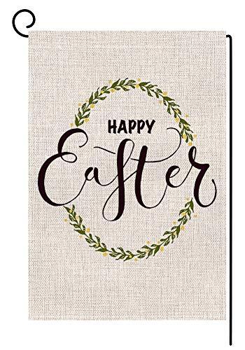 BLKWHT Happy Easter Egg Garden Flag Vertical Double Sided 12 x 18 Inch Spring Yard ()