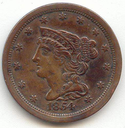 1854 Braided Hair Half Cent Choice Extra Fine Details