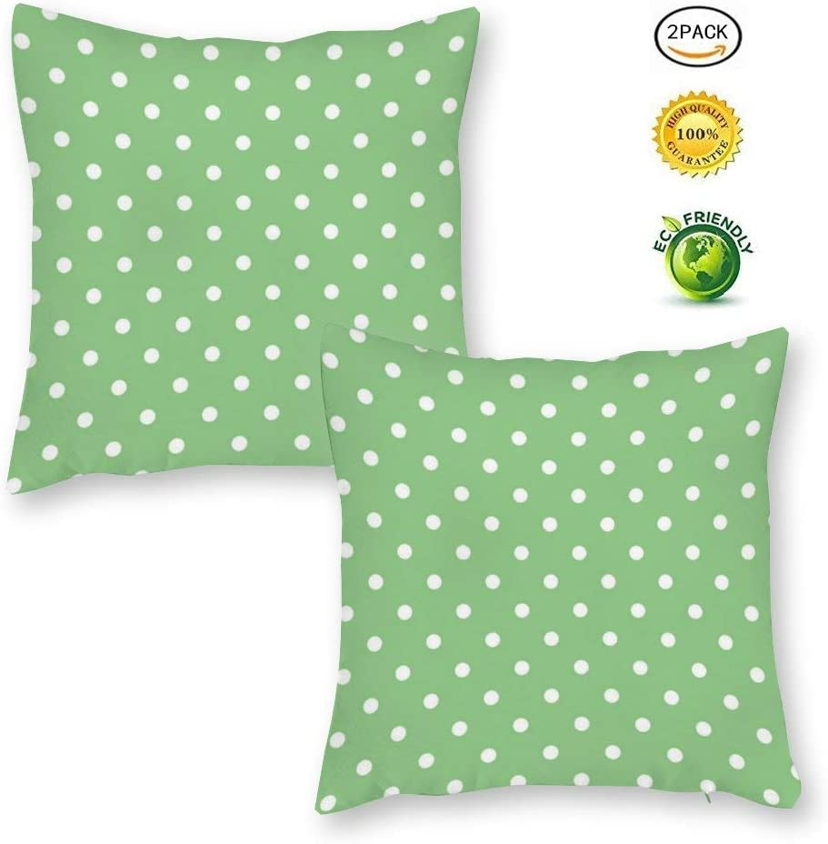 yyone Decorative Cotton and Linen Pillowcase,Green Apple Polka Dot,Two-Piece Set Throw Pillow Case Cushion Cover Home Decor,Square 20 X 20 Inches