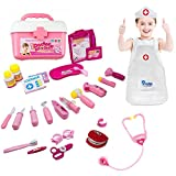 Gamzoo Doctor Nurse Medical Kit Playset with Coat for Kids, Pretend Play Tools Toy Set for 3 Years Old Girls-Promote Fine Motor Skills & Educational Learning, Boost Imagination & Creativity