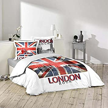 Housse de couette - 220 x 240 cm + taies - London Rock - Drapeau ...
