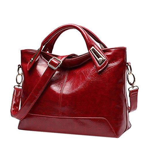 rétro les souple main 2018 en main main sauvage diagonale LUXIAO en femmes à sac Satchel huile cuir cire nouveau sac désinvolte à cuir Vin sac à Rouge Messenger épaule sac sac pour xEqdPpn