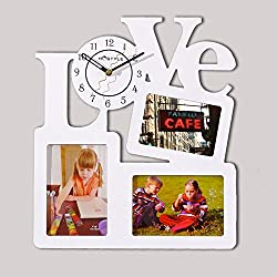 DJYJX Stylish and Simple/Home/Kitchen/Office/Living Room/School Clock/Easy to Read.Art Wall Clock hot Fashion Love Photo Frame Wall Clock Home Decoration Wall Clock Art Wall Clock Consignment,White