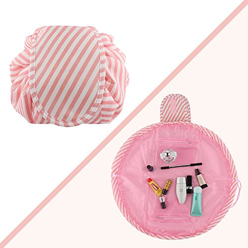Lazy Portable Makeup Bag Large Capacity Waterproof Travel Cosmetic Bag Quick Easy Pack Round Travel Toiletry Bag Perfect for Storage Pretty Fashion Pattern Drawstring Bag (Pink stripe) by Edapter (Image #2)