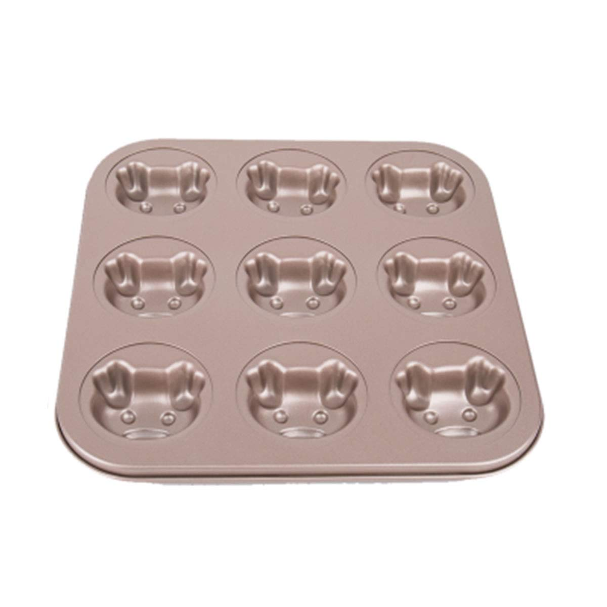 OBR KING Animal 9 Cavity Cake Mold with Nonstick Coating Carbon Steel Cake Baking Tools (Pig)
