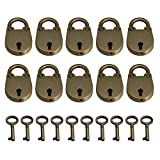 10pcs Vintage Antique Style Mini Archaize Padlocks Key Lock with Keys (Bronze)