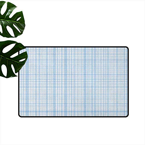 (RenteriaDecor Seafoam,Rubber Door mat Plaid Quilt Pattern with Squares and Lines Abstract Traditional Arrangement 18