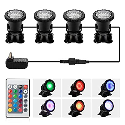 DOCEAN Pond Light, 36 LED IP68 Waterproof Underwater Submersible Spotlight with Remote, 4/2 Pack Multi-Color & Adjustable & Dimmable Aquarium Light, Landscape Lamp for Fish Tank Fountain