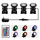 DOCEAN Pond Light, 36 LED IP68 Waterproof Underwater Submersible Spotlight with Remote, 4 Pack Multi-Color & Adjustable & Dimmable Aquarium Light, Landscape Lamp for Fish Tank Fountain (Upgraded): more info
