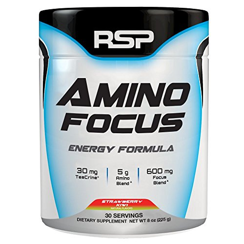 RSP Nootropic Pre Workout AMINOFOCUS, Turbo-Charged Energy & Limitless Focus, Naturally Flavored Pre Workout Powder for Men & Women, Creatine Free, Refreshing Strawberry Kiwi, 30-Servings