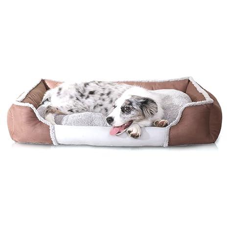 WYSBAOSHU Cómodo Casa para Mascotas Desmontable Perro Sofá Cesta (S, Marrón)