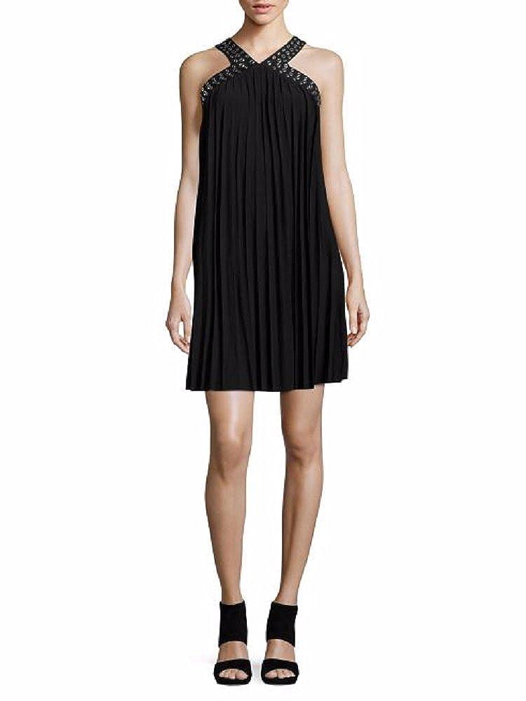 e16c1660d7f4 michael michael kors guarmet trim pleated matte jersey halter leg dress  (Small) at Amazon Women's Clothing store: